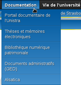 Le menu Documentation déroulé